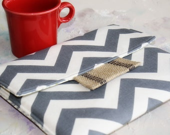iPad Envelope Case, Ipad Case, Ipad Sleeve, Ipad mini envelope cover, case, ipad Cover in Grey Chevron