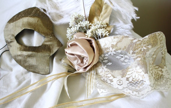 Shabby Chic - Bride and Groom Masks in Gold and Ivory - RESERVED