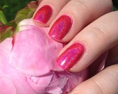 Raspberry Cordial Full Sized Holographic Nail Lacquer : Green Gables Collection