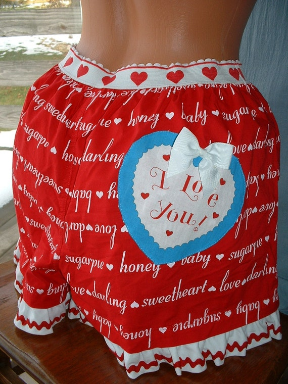 Sweetheart Shorts, Lingerie, Upcycled Recycled Eco-Friendly Valentine's Day I Love You Applique on the BACK