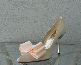 Light Peach Color Satin Ribbon Bow Shoe Clips Set Of Two, More Colors Available