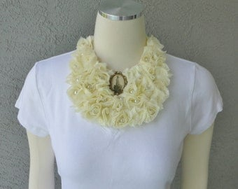 One Of A Kind Light Yellow Chiffon Roses Bib Necklace With Faux Pearl And Vintage Cameo