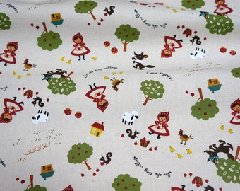 Cotton Linen Little red Riding  Hood 50 cm by 106 cm or 19.6 by 42 inch (n441)