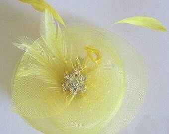 Yellow hair clip - bridesmaid wedding  - horsehair fascinator