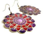 Mandala Earrings - Red and Purple