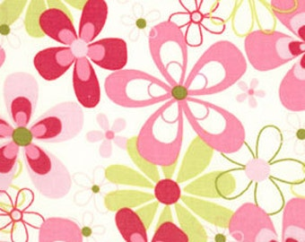 Fat Quarter- Nearby Floral Pink Flowers on Cream by Michael Miller Fabrics CX4902-Candy
