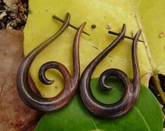 Fake Gauge Earrings ,organic ,Stick Wood Earrings,Tribal Style,Hand Made,organic,naturally