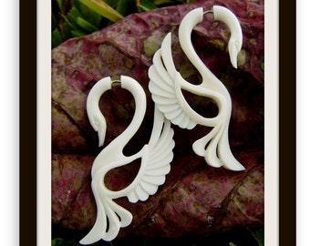 """Fake Gauge Earrings - Organic White Bone """"Swan Inspired"""" Tribal Style Split Expanders Hand Carved Fake Piercings"""