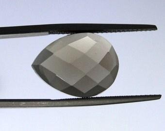 Smoky Quartz checker top faceted pear gems, pair, 16x12mm each                           068-04-001