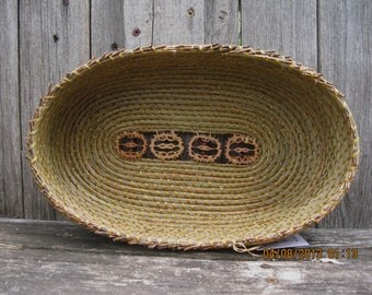 Coiled Pine Needle Basket - Large oval with 4 walnut slices in bottom