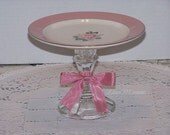Rose Pink Cupcake Stand / Dessert Pedestal / Vintage Inspired / Upcycled Cupcake Plate / Candle Holder / Soap Dish / Wedding Decor