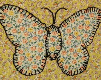 QUILT Piece CALILICO Butterfly embroidery panel  1940s vintage to frame  5 X 7  inches blue orange yellow