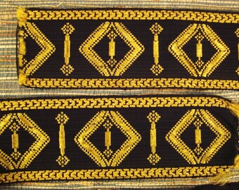 Victorian Ribbon TRIM BROCADE Woven GOLD and Black with Fringe  71 X 4