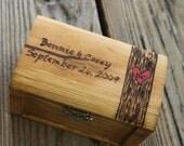 Rustic Woodburned Ring Bearer Box -Tree Trunk- Ring Pillow - Ring Box - Anniversary gift - Rustic Wedding Ring Box