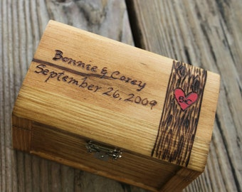 Rustic Woodburned Ring Bearer Box -Tree Trunk- Ring Pillow - Ring Box - Anniversary gift - Rustic Wedding Ring Box