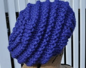 Chunky Blue Hat - Womens Slouchy Knit Winter Hat - Ladies Warm Tam - Stocking Cap - Beanie - Cobalt Blue