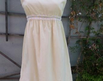 Vintage 60's Pale Yellow Empire Waist Dress. Spring Day Dress. XS Teen