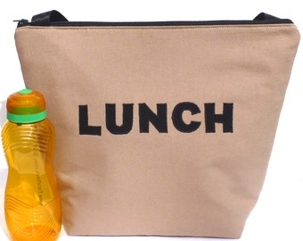 Insulated Large Lunch Bag Man Lunch Bag Brown Work lunch tote by BonTons