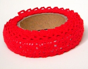 Red Fabric Tape - Crochet Lace, Decorative Cotton Adhesive