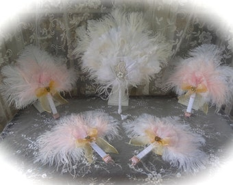 Ostrich Bridal Fan Collection in White, Pink and Gold - CUSTOM CREATED for YOU!