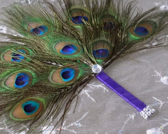 Peacock Feather Budget Mini Fan with felt backing in your choice of colors