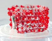 Red Crocheted Wire Cuff Bracelet,  Beadwork  Statement Bracelet,  Red Crystals on Red Wire