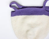 Cotton Market Tote Bag,  Hand Crocheted Fall Tote,  Book Bag, Purple White Bag, Ready to Ship