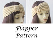 Instant Download, PDF Knitting Pattern, '20s Flapper Headband Pattern, Flower,  Beaded Ear Warmer Pattern