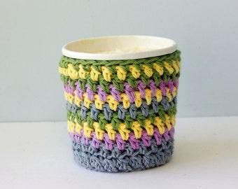 Crocheted Cotton Ice Cream Cozy, Soup Cup Cozy, Chevron Pattern Pint Ice Cream Sleeve, Pastel  Stocking Stuffer
