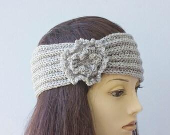 Flapper Headband,  '20s Headband,  Silver Hand Knit Flower Ear Warmers, Knitted Headband