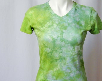 Tiny Flowers on Sky Blue and Lime - a Hand-dyed Cotton Interlock Vee-neck Tee (large - medium)