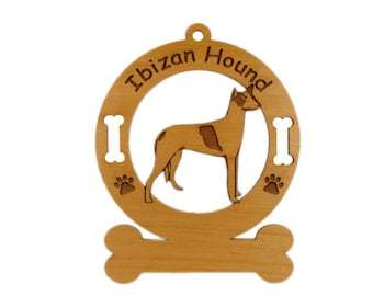 3358 Ibizan Hound Standing Personalized Dog Ornament