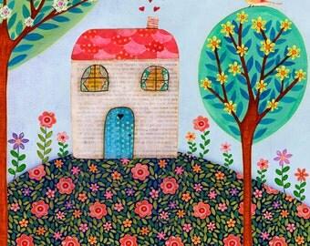 Nursery Art, Nursery deco, Baby Girl Nursery Wall Art, House on Hill  Large Art Print, Kids Decor, Children Decor, Large Art, Nursery Print