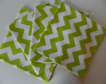 Lime Green Chevron Cotton Dinner Napkins. Set of 4 Designer Fabric. Spring, Summer, Every Day Use. Great Bridal Shower or Mother's Day Gift
