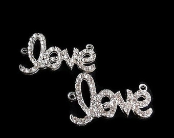 "2 ""love"" Silver Color Charms / Links, Jewelry Making Supply,  Clear Color Rhinestones"