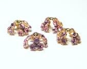 Sale! - Vintage Swarovski Rose Pink Crystal Bead Caps - Gold Plated (4)