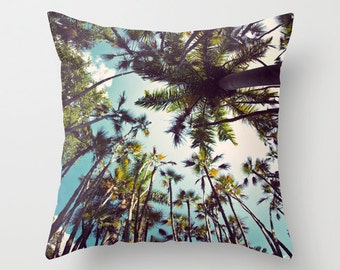 """Palm Tree Pillow Case, Tropical Pillow Cover -  Allover Print 16 X 16"""" - Blue & Green Home Decor, Perfect for your Beach Cottage"""