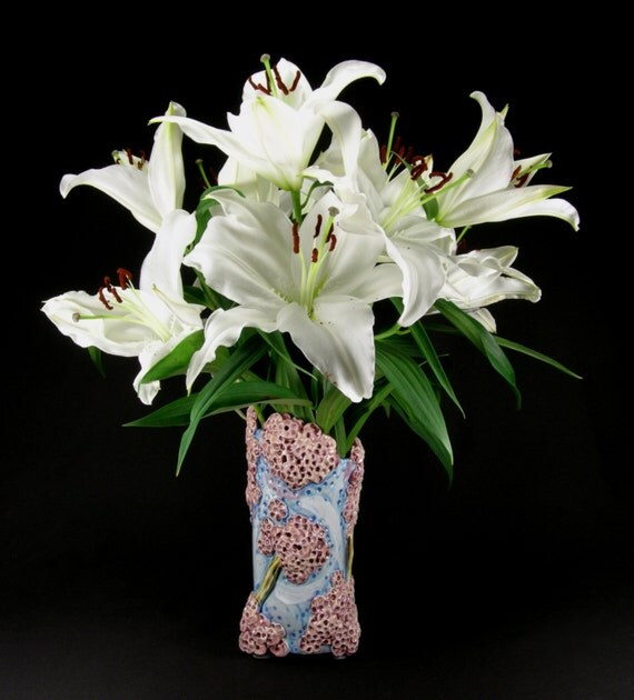 Items Similar To Long Stem Ceramic Flower Vase With A Cherry Blossom Design On Etsy