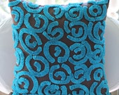 Brown and Blue Turq Pillow Covers - 20x20 Inches Throw Silk Pillows with Ribbon Embroidery - Turq Swirls