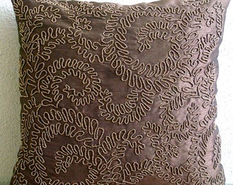 """Designer Brown Cushion Covers, 16""""x16"""" Silk Pillows Covers For Couch, Square  Beaded Garden Rail Throw Pillows Cover - Brown Gold Ivy"""