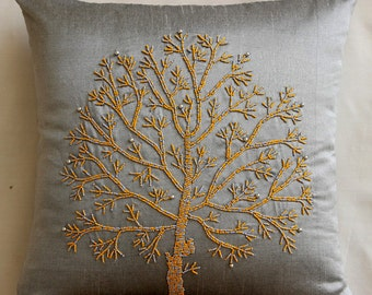 """Luxury Silver Grey Pillows Cover, 16""""x16"""" Silk Pillow Covers, Square  Colorful Beaded Tree Pillows Cover - Tree Of Faith"""