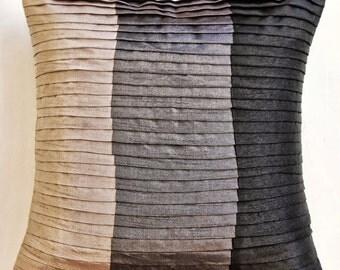 "Luxury Black Throw Pillow Covers, Color Block & Pintucks Pillows Cover Square  18""x18"" Silk Pillowcase - Dark Secret"