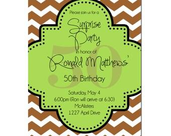 Surprise Party invitation- 30th Birthday Invitation- Digial File, print yourself, 40th birthday, 50th birthday, 60th birthday