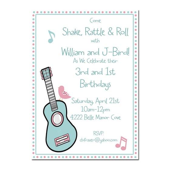 Music Birthday Party Invitation Digital File Or Printed