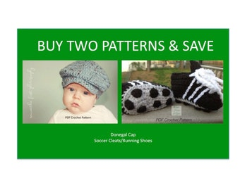 Instant Download - Buy Donegal Cap - Soccer Cleats PDF Crochet Patterns together and Save