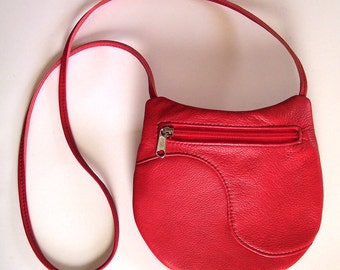 Red Leather Purse - Medium Round Festival Bag - Bright Red Leather Handbag - Crossbody Style