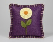 Pincushion • Pin Pillow • Vineyard Wool Felt with a Yellow Flower • Hand Embroidered