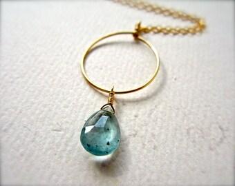 Freckles Necklace - moss aquamarine necklace, circle pendant necklace, moss aquamarine circle necklace, aquamarine gold circle necklace, N09