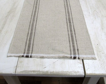 FRENCH LAUNDRY Parisian Stripe Chocolate On clay  Tablerunner