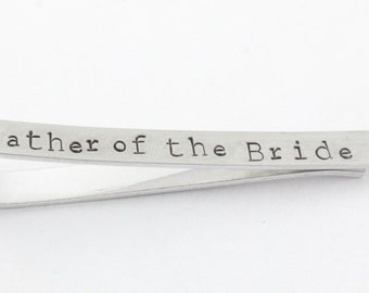Father of the Bride Tie Bar - Custom Tie Bar - Personalized Tie Bar - Men's Silver Tie Bar - Gift for Father of the Bride - Custom Tie Clip